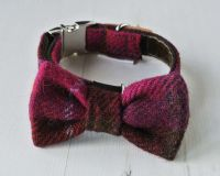Cerise Plaid Harris Tweed Bow Tie